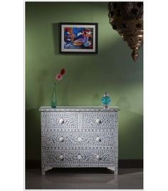 Dark Grey Bone Inlay Chest of Drawer/Dresser
