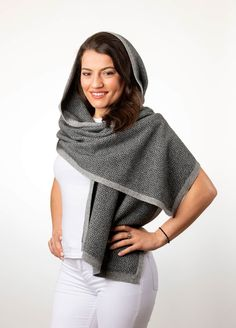 aea5dff9a This lovely silver & black possum merino wool wrap by Native World has a  gorgeous pebble