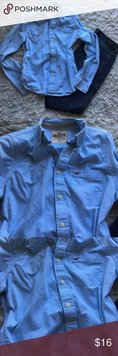 Hollister mens (teen boys) button-up, medium Hollister light blue & white button up, size medium. Also fits a boys XL which is what we bought it for as Hollister runs WAY small. Perfect for my then 16yo. Like new - this was worn once at best. No flaws. Hollister Shirts & Tops Button Down Shirts