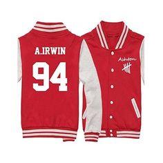 Junior 5SOS Calum Hood Varsity Sweatshirt Jacket ($36) ❤ liked on Polyvore featuring outerwear, jackets, red hooded jacket, hooded jacket and red jacket