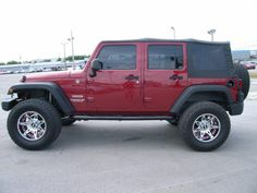 Cumberland Customs 2012 Jeep Wrangler Unlimited Soft Top Maroon and Chrome, Side Jeep Wrangler Soft Top, 4 Door Jeep Wrangler, Jeep Wrangler Rubicon, Jeep Wrangler Unlimited, Jeep Wranglers, Jeep Wrangler Interior, Beach Jeep, Blue Jeep, Jeep Wrangler Accessories