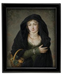 Woman With Fruit Basket by Louis Marie Autissier |  The Tansey Miniatures Foundation