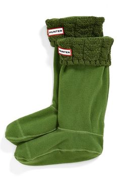 Hunter Cable Knit Cuff Welly Socks (Women) available at #Nordstrom in white