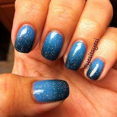 Blue Gradient.  Zoya- Yummy.  OPI- Ski Teal We Drop.  China Glaze- Fairy Dust.