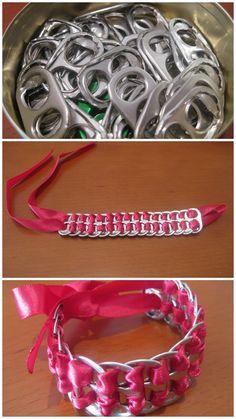 eenvoudig een armband maken van lipjes van blikjes en lint
