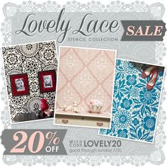 Lace Pattern Wall Stencils are on SALE this weekend! Get 20% off with promo code LOVELY20. Royal Design Studio wall stencils