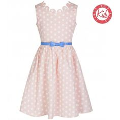 'Mini Daria' Peach Polka Dot Party Dress ($10) ❤ liked on Polyvore featuring dresses, peach, pink polka dot dress, polka dot dress, pink dress, peach pink dress and skater skirts
