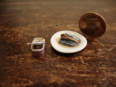 miniature can of sardines empty dish by bagusitalyminiatures