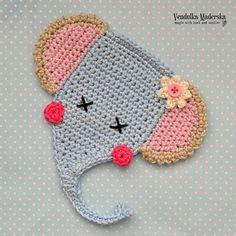 Cute elephant applique - crochet pattern by VendulkaM Elephant Applique, Crochet Elephant, Elephant Pattern, Cute Elephant, Crochet Baby, Kids Knitting Patterns, Knitting For Kids, Crochet Patterns, Half Double Crochet