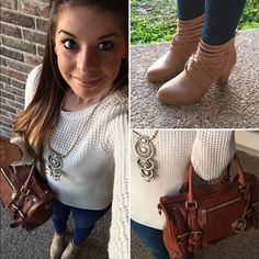 Fall fashion accessorized with a Stella & Dot statement piece necklace. You can take the parts of the necklace off to wear for different looks or shorter. So versatile!!! Click the image to shop the look or go to www.stelladot.com/hollyward #sweatersesther #reddressboutique #booties #michaelkors