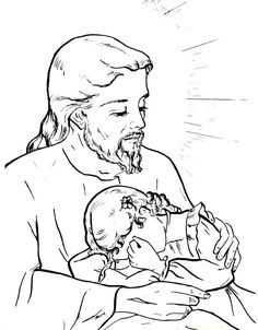 Jesus and the children / Sacred Heart Catholic Coloring
