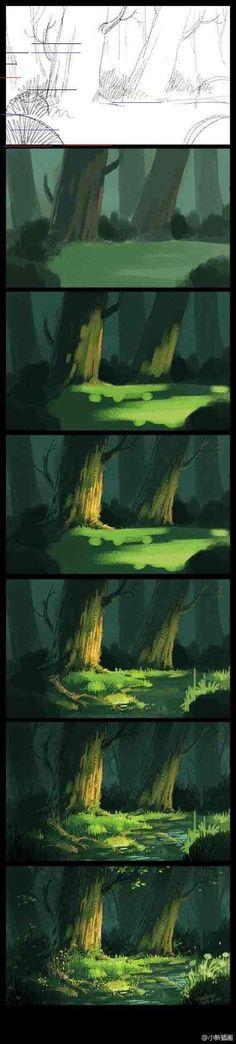 Emma Nightingale tutorial-digital painting Plus Digital Painting Tutorials, Digital Art Tutorial, Art Tutorials, Art Et Nature, Art Journal Techniques, Painting Process, Art Background, Land Scape, 3 D