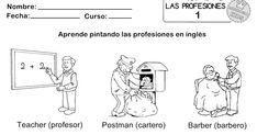 FICHAS 1,2,3,4 y 5 para que los alumnos aprendan pintando, cómo se llaman en inglés algunas de las muchas profesiones que... Comics, Kids, Sun, Professor, Index Cards, Learning, Colors, Young Children
