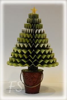 folded paper tree - use a dollar store favor bucket