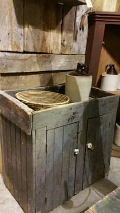 Blue Painted Dry Sink In Poplar With Two Raised Panel Doors One Lap Jointed Drawer And Arched