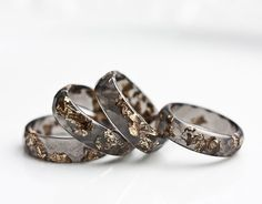 Resin Ring Black Gold Flakes Small Faceted Ring OOAK by daimblond