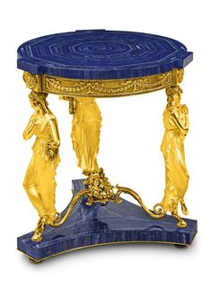 Crafted and designed according to the ancient Florentine techniques, Baldi classic furnitures give shape to dreamlike interiors Dancing Venus round table with prongs in lapis lazuli and gold plated bronze French Furniture, Classic Furniture, Antique Furniture, Classic Artwork, Luxury Interior, Decorative Accessories, Bronze, Jewellery, Shape