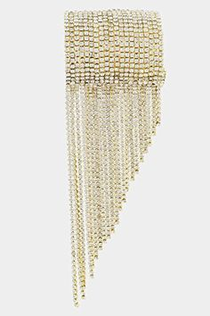GlitZ Finery Crystal Stacked Drop Fringe Accent Cuff Stretch Bracelet (Gold/Clear)