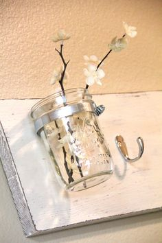Great DIY bathroom hook idea. Plus a vase! I have so many mason jars lying around too.