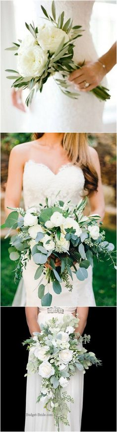 White and green simple elegant wedding bouquet