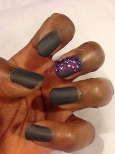 """IrisColors- """"drive"""" with Essie's """"Matte about you"""" with Cina Pro Rhinestones"""