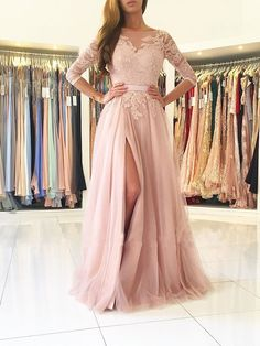 A-line Illusion Neck Lace and Tulle Skirt Half Sleeves Long Prom Dresses APD2792