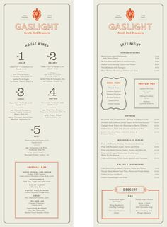 Gaslight Menus  Gaslight is an American Brasserie in Boston's South End district. The menus incorporate the feel of a traditional brasserie with an American twist. Designed at Tank Design.