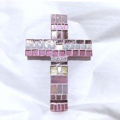 Pink Mosaic Wall Cross, Baptism Cross Decor, Small Mosaic Wall Cross, Goddaughter Gift , Communion Gift Girl, Keepsake from Godparents #baptismcross #religiousgifts #confirmationgirl #communiongiftgirl #baptismgiftgirl #pinkmosaiccross #baptism #religious #etsy