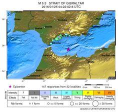 Earthquake - Magnitude 6.3 - STRAIT OF GIBRALTAR - 2016 January 25, 04:22:02 UTC