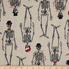 Mr. Chillingsworth Christmas Skeletons With Lights Fabric Premium Quilt Cotton #AndoverFabrics