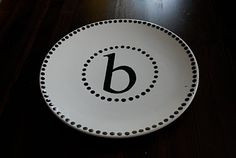 Monogrammed Plates. I would love to do this!!
