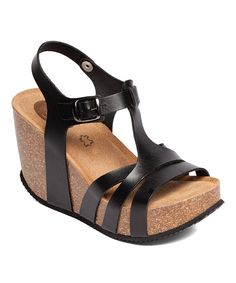 Take a look at this UMA Black Lalita Leather Wedge Sandal today!