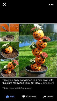 Pumpkin yard art!