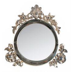 Espejo De Pared En Plata Ovalado 45 X 38cm Barroca Antiguo Reproducción Vintage Low Price Arte Y Antigüedades
