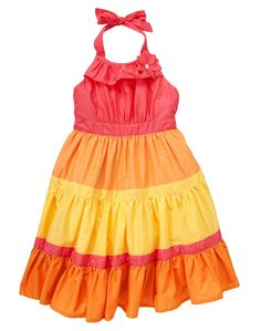 Gymboree Colorblock Tiered Halter Dress Aloha Sunshine Hawaiian Polynesian