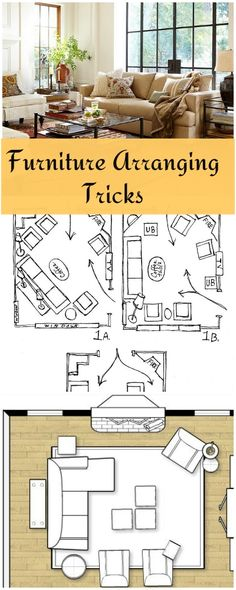 Furniture arranging tricks can change your room. Here are some great easy furniture arranging tricks to try to give it a whole new flavor in just an hour. Informations About Furniture Arranging Ideas & Tricks Home Living Room, Apartment Living, Living Room Decor, Apartment Layout, Dining Room, Small Living Room Layout, Living Room Furniture Layout, Bedroom Furniture, Furniture Chairs
