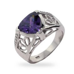 Vintage Style Triangle Cut Amethyst CZ Ring, $82 #sterlingsilverring #February
