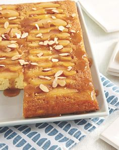 From-a-mix pound cake is topped with sweet caramelized pears and almonds, making this unique upside-down cake dinner-party gold! Serve warm with a scoop of vanilla for an extra-decadent dessert.