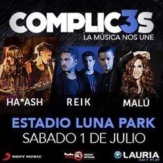 ¡Vas a ser parte del show del año! @Complices_Ok 01/07 📅 @stadiumlunapark #LaMúsicaNosUne @haashoficial @ReikMx @_MaluOficial_ ¿Venís?