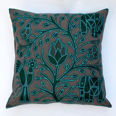 Unique handmade embroidered cushion cover by Kaross for sale online.