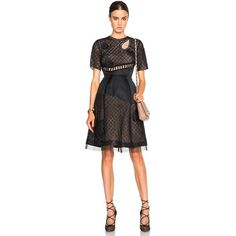 Prabal Gurung Short Sleeve Embroidery Dress ($3,500) ❤ liked on Polyvore featuring dresses, lacy dress, short sleeve lace dress, lace dress, prabal gurung dress and sequin embellished dress