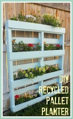 This Vertical Planter is sold on a UK website but we think it would be very easily DIY'able! Even better would be to use old wine crates as the boxes.  I like these simple pallet planters, they would