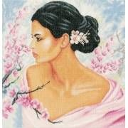 Image of Lady With Blossoms Cross Stitch Kit