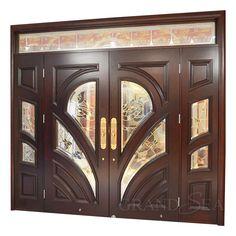 Window Glass Design, Door And Window Design, Home Door Design, Wooden Front Door Design, Double Door Design, Door Design Interior, Wooden Doors, Main Door Design Photos, Main Entrance Door Design