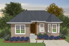 Small Contemporary House Plans, Small Back Porches, 2 Bedroom House Plans, Free House Plans, European Style Homes, Roof Plan, In Law Suite, Windows And Doors, Ideal Home
