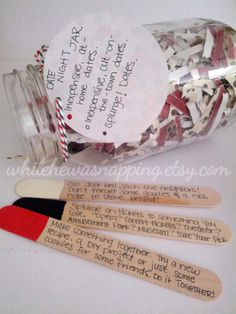 """This Date Night Jar would be a great DIY gift idea. The perfect inexpensive and easy gift idea for him or for her. And it's already full of fun date ideas so no more """"whatcha wanna do?"""" dates! Date Night Jar, Jar Gifts, Romantic Gifts, Boyfriend Gifts, Boyfriend Ideas, Boyfriend Stuff, Homemade Gifts, Cute Gifts, Christmas Diy"""