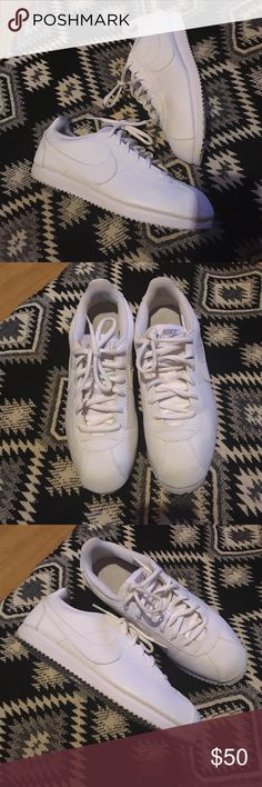 Nike cortez Nike cortez, white, worn a handful of times still in okay condition, very comfy! A bit narrow sz 6 kids so 8 women Shoes Sneakers
