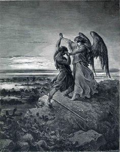 Jacob Wrestling with the Angel (B & W 1866) - Gustave Dore (FEEL LIKE THIS ALL THE TIME)