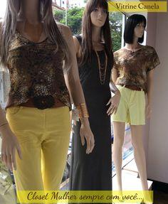 Vitrine Closet Mulher  Calça, top, shorts , vestido longo, acessórios  www.facebook/closetmulher