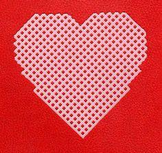 Free Printable Plastic Canvas Patterns | Use this pattern to cut plastic canvas to make a heart-shaped coaster.